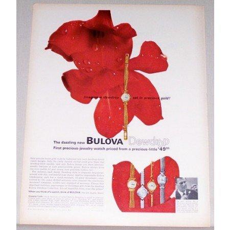 1963 Bulova Dewdrop 17 Jewel Watch Color Print Ad