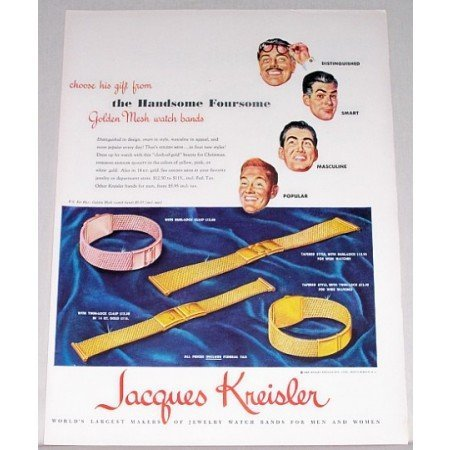 1948 Jacques Kreisler Golden Mesh Watchbands Color Print Ad