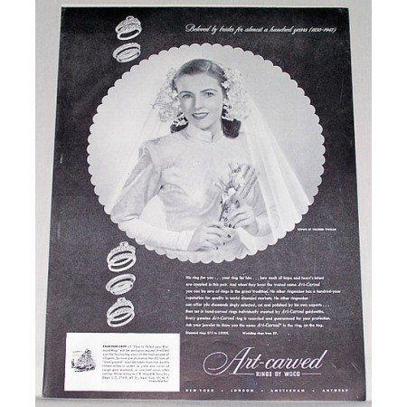 1947 Art Carved Rings by Wood Print Ad - Beloved By Brides