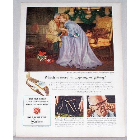 1953 Watchmakers of Switzerland Color Art Print Ad