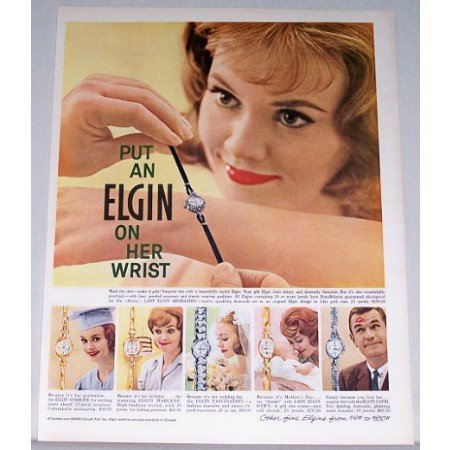 1961 Lady Elgin Adoration 12 Diamond Wristwatch Color Print Ad
