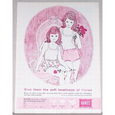 1961 Hanes Panties Color Art Print Ad - Soft Loveliness