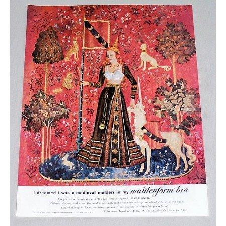 1960 Maidenform Bra Medieval Maiden Color Art Print Ad