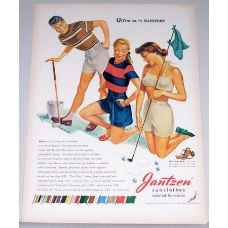 1948 Jantzen Sunclothes Golf Art Color Print Ad - Umm As In Summer