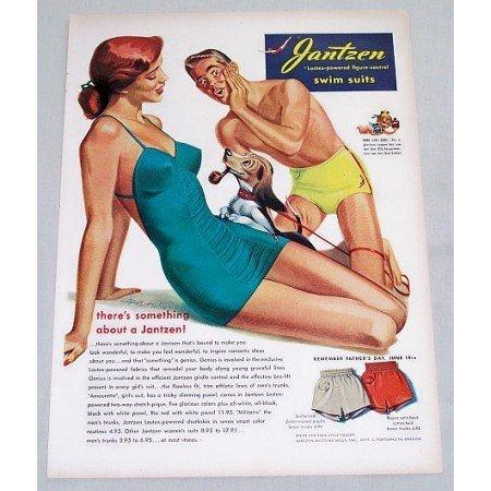 1949 Jantzen Figure Control Swim Suits Color Art Print Ad