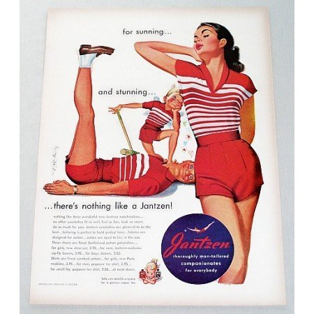 1951 Jantzen Sunclothes Color Art Print Ad - Sunning And Stunning