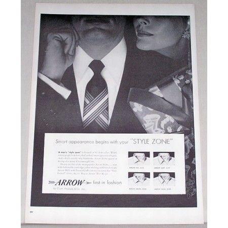 1955 Arrow Style Zone Mens Shirts Print Ad