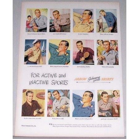 1948 Arrow Gabanaro Sports Shirts Color Print Ad