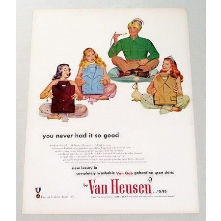 1951 Van Heusen Gabardine Sport Shirts Color Print Ad