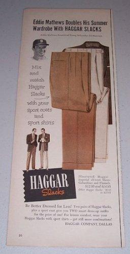 1954 Hagger Slacks Print Ad Baseball Celebrity Eddie Mathews
