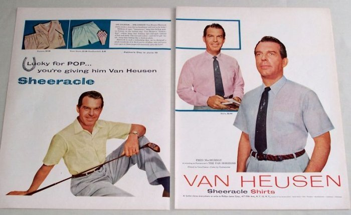 1955 Van Heusen Sheeracle Shirts Color Print Ad Celebrity Fred McMurray