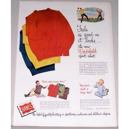 1947 Hanes Windshield Sport Shirts Color Print Ad