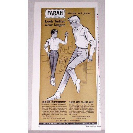 1961 Farah Gold Strikes Boys Slacks Jeans Color Print Ad