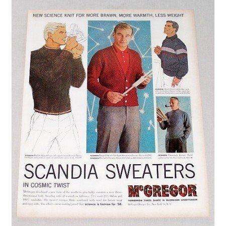 1958 McGregor Scandia Sweaters in Cosmic Twist Color Print Ad