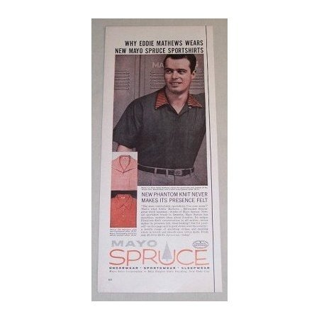 1955 Mayo Spruce Sports Shirt Color Art Print Ad Baseball Celebrity Eddie Mathews