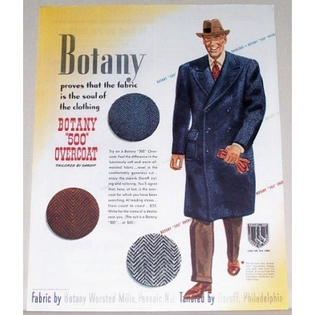 1944 Botany 500 Sportcoat Color Print Ad - Tailored By Daroff