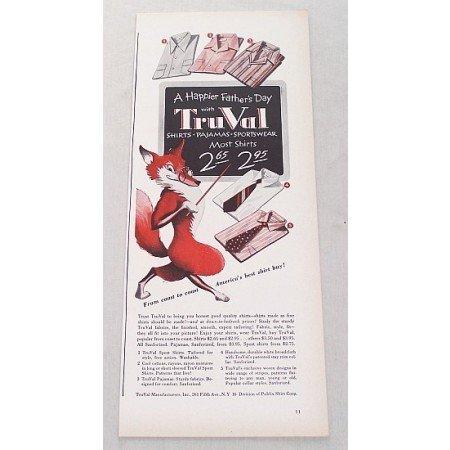 1948 TruVal Shirts Pajamas Sportswear Fox Animal Art Color Print Ad