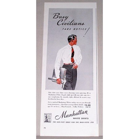 1942 Manhattan White Shirts Color Print Ad - Busy Civilians