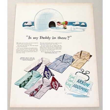 1946 Arrow Arazephyrs Shirts Winter Igloo Art Color Print Ad - Is My Daddy In