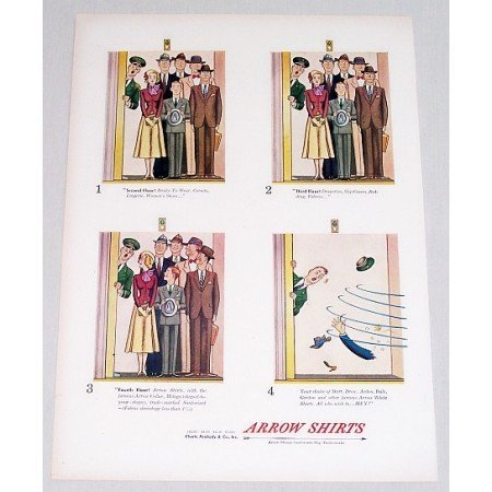 1948 Arrow Shirts Color Print Ad - 2nd 3rd 4th Floor