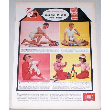 1962 Hanes Cozy Cotton Gifts Sleepers Pajamas Color Print Ad