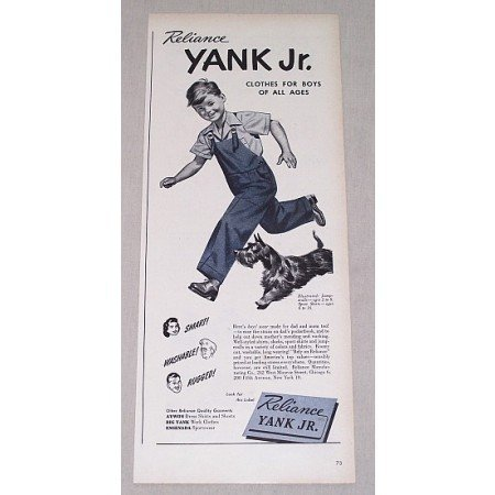 1946 Reliance Yank Jr. Boys Clothing Jumperalls Print Ad