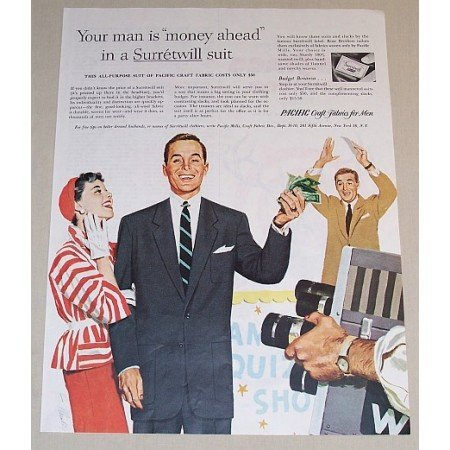 1954 Pacific Fabrics Surretwill Suit Game Show Art Color Print Ad