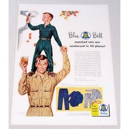 1954 Blue Bell Work Clothes Tom Hall Art Color Print Ad