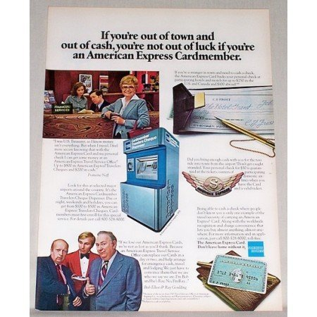 1979 American Express Travelers Cheque Dispenser Color Print Ad