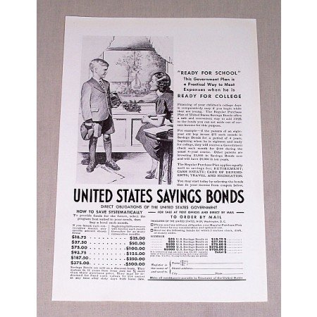 1937 United States Savings Bonds Print Ad - Ready For School
