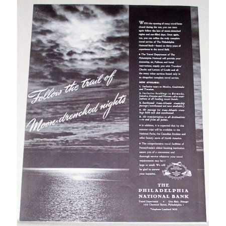 1946 Philadelphia National Bank Print Ad - Follow The Trail
