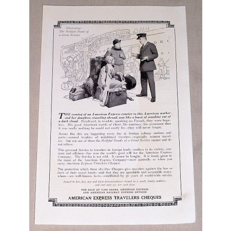 1927 American Express Travelers Cheques Print Ad
