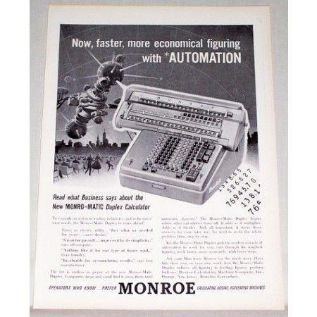 1955 Monroe Monro Matic Duplex Calculator Print Ad