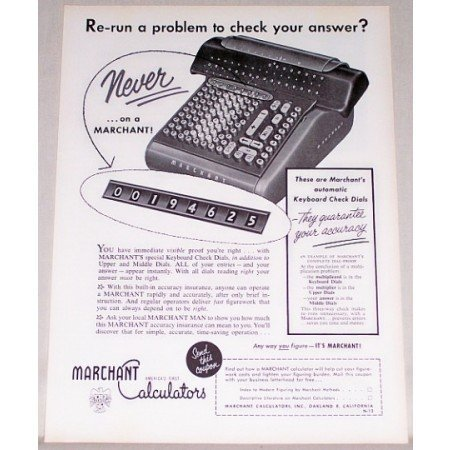 1954 Marchant Calculators Keyboard Check Dials Print Ad
