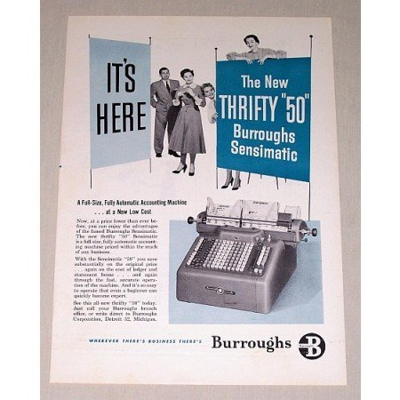 1954 Burroughs Sensimatic Accounting Machine Print Ad