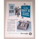 1954 Burroughs Sensimatic Accounting Machine Print Ad