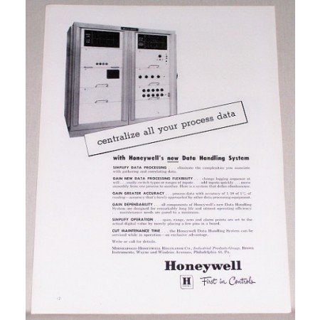 1958 Honeywell Data Handling System Print Ad