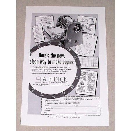 1955 A B Dick Azograph Duplicating Copy Machine Print Ad