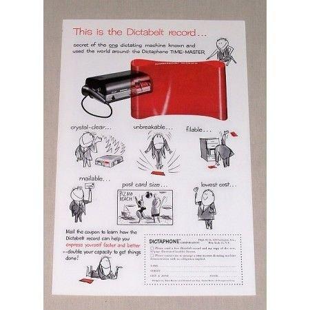 1955 Dictaphone Dictabelt Dictating Machine Print Ad