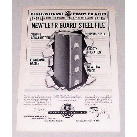 1949 Globe Wernicke Let-R-Guard Steel File Cabinet Print Ad