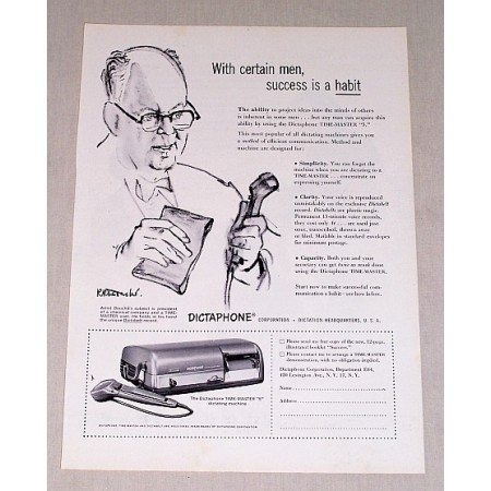 1954 Dictaphone Time Master 5 Dictating Machine Print Ad