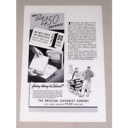 1946 American Stationery Co. Sheets Envelopes Print Ad
