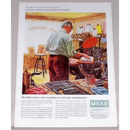 1957 Mead Papers Color Printers Art Print Ad - Know Your Printer