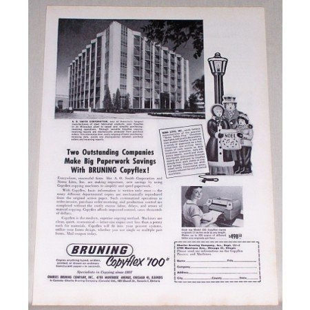 1955 Bruning Copyflex 100 Copier A. O. Smith Corp Building Print Ad