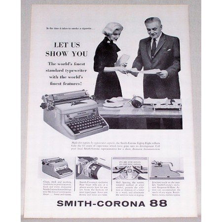 1957 Smith Corona 88 Typewriter Print Ad - Let Us Show You