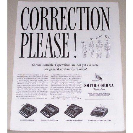 1944 Smith Corona Typewriters Print Ad - Correction Please!