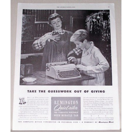 1951 Remington Quiet-Riter Portable Typewriter Print Ad