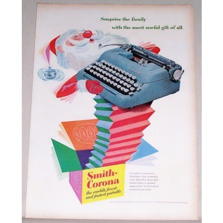 1955 Smith Corona Silent Super Typewriter Santa Clause Art Color Print Ad