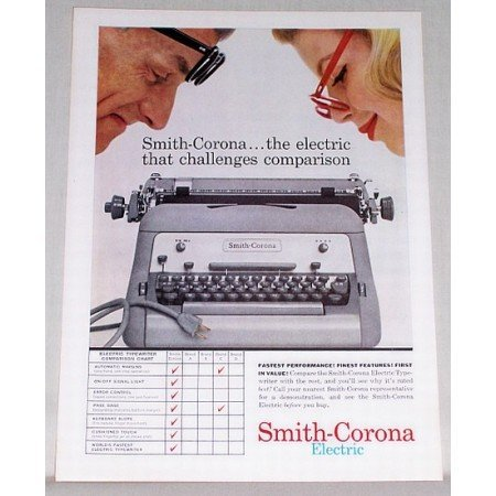 1959 Smith Corona Electric Typewriter Color Print Ad