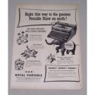 1949 Royal Portable Typewriter Circus Clowns Elephant Animal Art Print Ad
